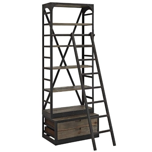 Modway Velocity Industrial Modern Wood And Cast Iron Bookshelf In Brown 0 0
