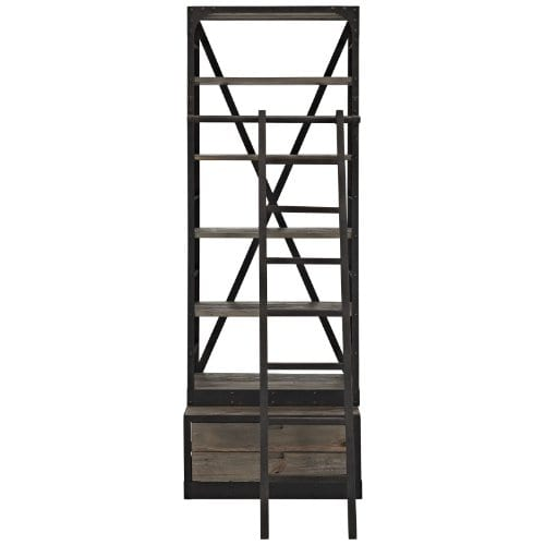 Modway Velocity Industrial Modern Wood And Cast Iron Bookshelf In Brown 0 1