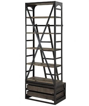 Modway Velocity Industrial Modern Wood And Cast Iron Bookshelf In Brown 0 2 300x360