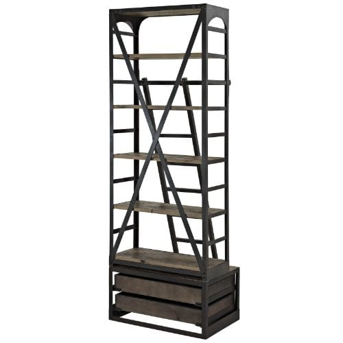 Modway Velocity Industrial Modern Wood And Cast Iron Bookshelf In Brown 0 2