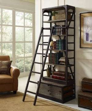 Modway Velocity Industrial Modern Wood And Cast Iron Bookshelf In Brown 0 3 300x360