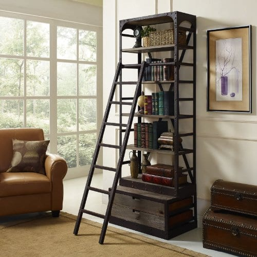 Modway Velocity Industrial Modern Wood And Cast Iron Bookshelf In Brown 0 3