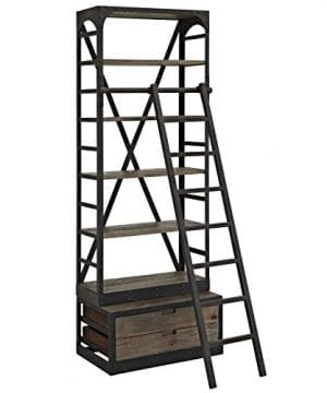 Modway Velocity Industrial Modern Wood And Cast Iron Bookshelf In Brown 0 300x360