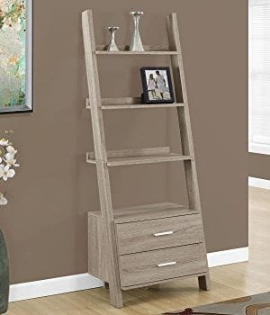 Monarch Specialties I 2538 Bookcase Ladder With 2 Storage Drawers Dark Taupe 69H 0 300x350
