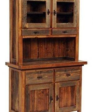 Mountain Woods Furniture 2 Drawer Rustic Wood Buffet W Hutch Contoured Aspen 0 300x360