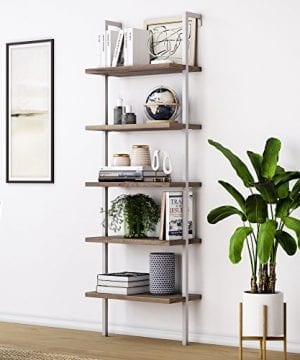 Nathan James 65502 Theo Wood Ladder Bookcase Rustic Wood And Metal Frame WhiteBrown 0 300x360