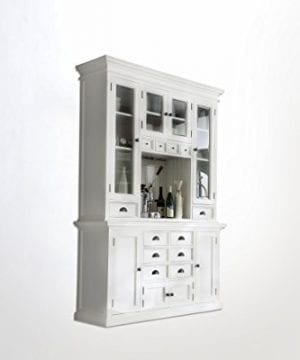 NovaSolo Halifax Pure White Mahogany Wood Hutch Cabinet With Glass Doors Storage And 12 Drawers 0 0 300x360
