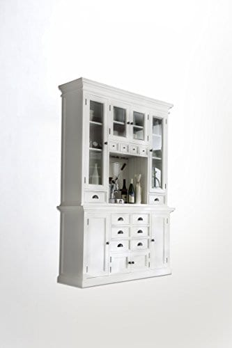 NovaSolo Halifax Pure White Mahogany Wood Hutch Cabinet With Glass Doors Storage And 12 Drawers 0 0