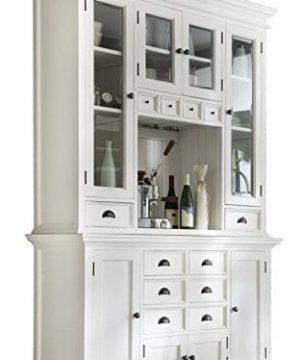 NovaSolo Halifax Pure White Mahogany Wood Hutch Cabinet With Glass Doors Storage And 12 Drawers 0 300x360
