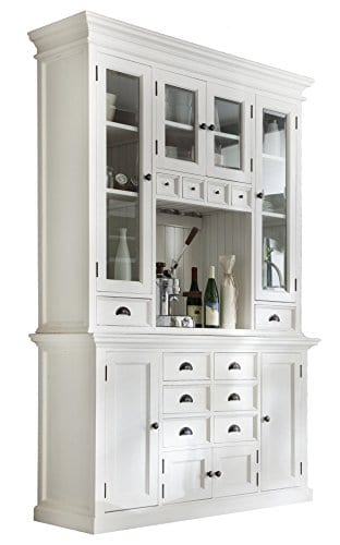 NovaSolo Halifax Pure White Mahogany Wood Hutch Cabinet With Glass Doors Storage And 12 Drawers 0
