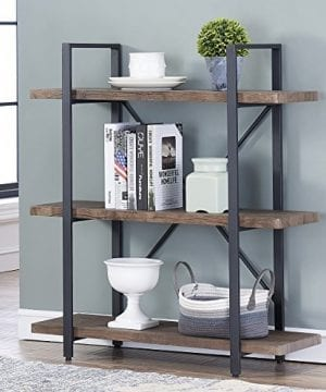 OK Furniture 3 Shelf Industrial Bookcase And Book Shelves Free Standing Storage Display Shelves Brown 0 300x360