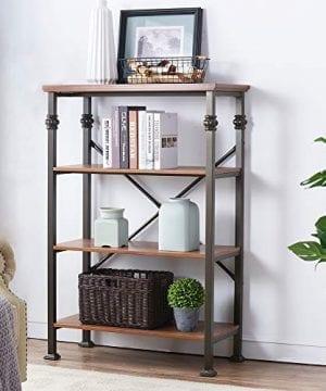 OK Furniture 4 Shelf Industrial Open Bookcase Wood And Metal Vintage Etagere Bookshelf Maple 0 300x360