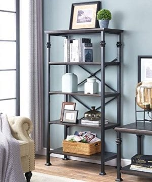 OK Furniture 5 Tier Bookcase And Shelves Vintage Wood And Metal Bookshelf For Home Decor Display Black Espresso 0 0 300x360