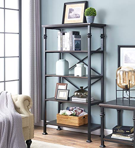 OK Furniture 5 Tier Bookcase And Shelves Vintage Wood And Metal Bookshelf For Home Decor Display Black Espresso 0 0