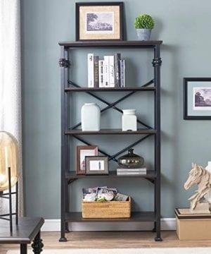OK Furniture 5 Tier Bookcase And Shelves Vintage Wood And Metal Bookshelf For Home Decor Display Black Espresso 0 1 300x360