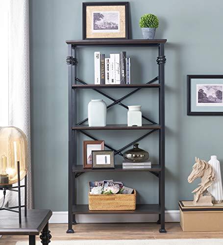 OK Furniture 5 Tier Bookcase And Shelves Vintage Wood And Metal Bookshelf For Home Decor Display Black Espresso 0 1
