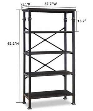 OK Furniture 5 Tier Bookcase And Shelves Vintage Wood And Metal Bookshelf For Home Decor Display Black Espresso 0 2 300x360