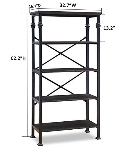 OK Furniture 5 Tier Bookcase And Shelves Vintage Wood And Metal Bookshelf For Home Decor Display Black Espresso 0 2