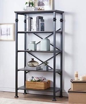 OK Furniture 5 Tier Bookcase And Shelves Vintage Wood And Metal Bookshelf For Home Decor Display Black Espresso 0 300x360