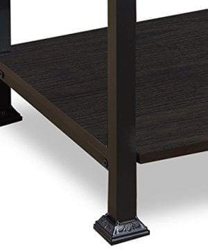 OK Furniture 5 Tier Bookcase And Shelves Vintage Wood And Metal Bookshelf For Home Decor Display Black Espresso 0 4 300x360