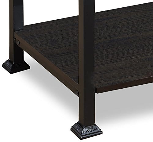 OK Furniture 5 Tier Bookcase And Shelves Vintage Wood And Metal Bookshelf For Home Decor Display Black Espresso 0 4