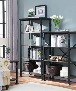 OK Furniture 5 Tier Bookcase And Shelves Vintage Wood And Metal Bookshelf For Home Decor Display Black Espresso 0 5 300x360