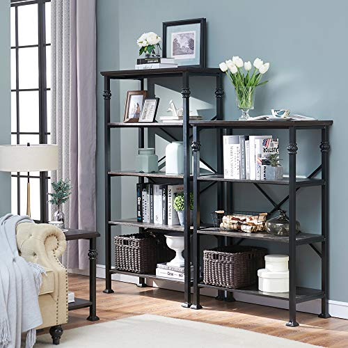 OK Furniture 5 Tier Bookcase And Shelves Vintage Wood And Metal Bookshelf For Home Decor Display Black Espresso 0 5