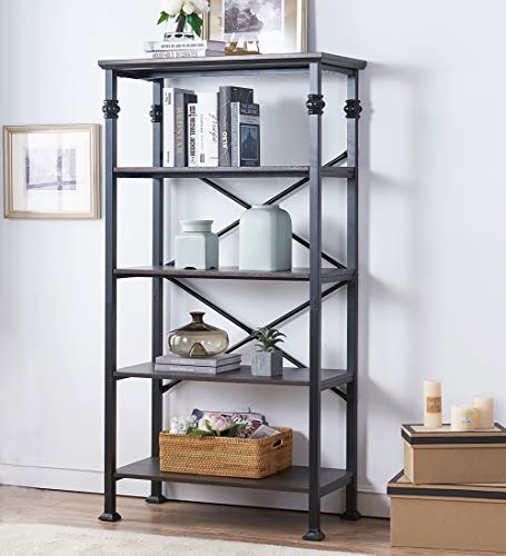 OK Furniture 5 Tier Bookcase And Shelves Vintage Wood And Metal Bookshelf For Home Decor Display Black Espresso 0