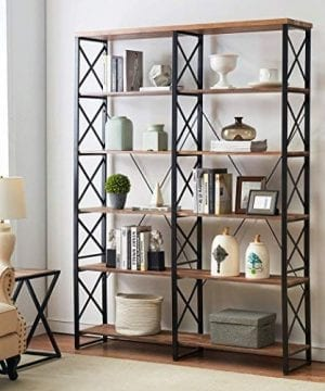 OK Furniture 807 Double Wide 6 Shelf Bookcase Industrial Large Open Metal Bookcases Furniture Etagere Bookshelf For Home Office Vintage Brown 0 300x360