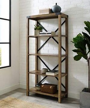 Pemberly Row 64 Metal X Bookcase In Rustic Oak 0 0 300x360