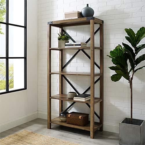 Pemberly Row 64 Metal X Bookcase In Rustic Oak 0 0