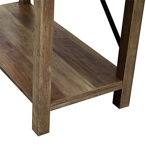 Pemberly Row 64 Metal X Bookcase In Rustic Oak 0 1