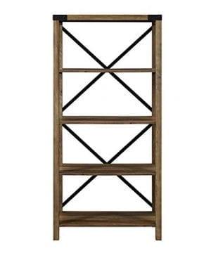 Pemberly Row 64 Metal X Bookcase In Rustic Oak 0 2 300x360