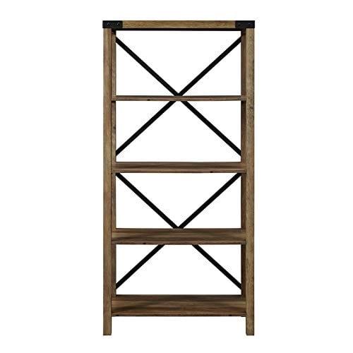 Pemberly Row 64 Metal X Bookcase In Rustic Oak 0 2
