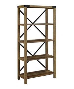 Pemberly Row 64 Metal X Bookcase In Rustic Oak 0 300x360