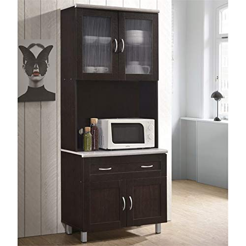 Pemberly Row Kitchen Cabinet In Chocolate Gray 0 0
