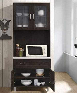 Pemberly Row Kitchen Cabinet In Chocolate Gray 0 1 300x360