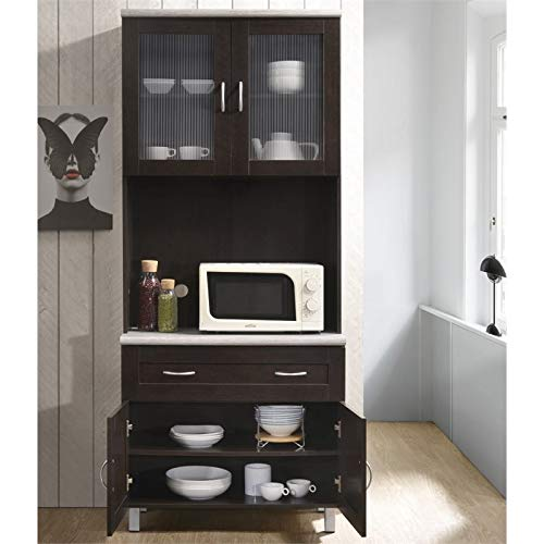 Pemberly Row Kitchen Cabinet In Chocolate Gray 0 1