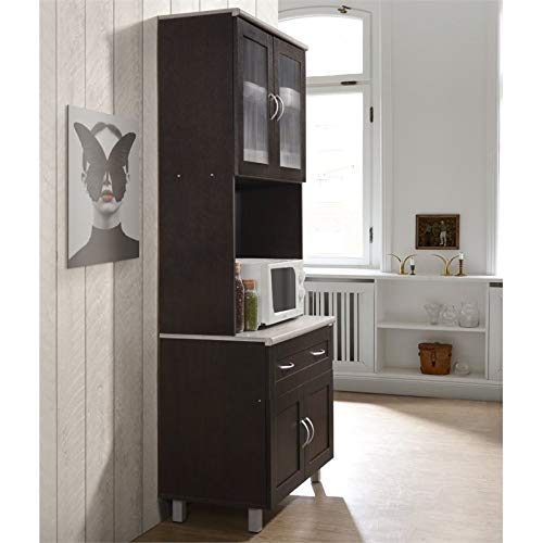 Pemberly Row Kitchen Cabinet In Chocolate Gray 0 2