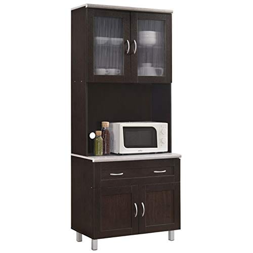 Pemberly Row Kitchen Cabinet In Chocolate Gray 0