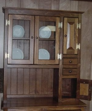Pine Solid Wood Hoosier Hutch Cabinet Made In America Amish Handcrafted Special Walnut Stain 0 1 300x360
