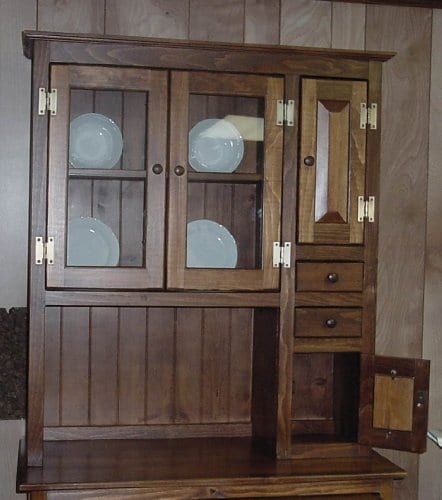 Pine Solid Wood Hoosier Hutch Cabinet Made In America Amish Handcrafted Special Walnut Stain 0 1