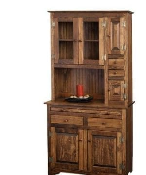 Pine Solid Wood Hoosier Hutch Cabinet Made In America Amish Handcrafted Special Walnut Stain 0 300x360