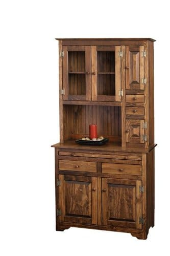Pine Solid Wood Hoosier Hutch Cabinet Made In America Amish Handcrafted Special Walnut Stain 0