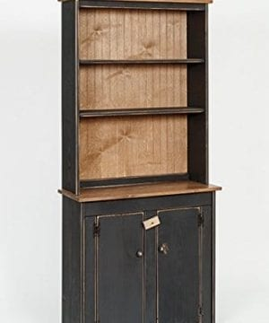 Primitive Rustic Country Wooden Hutch With Shelves And Cabinet Antique White 0 300x360