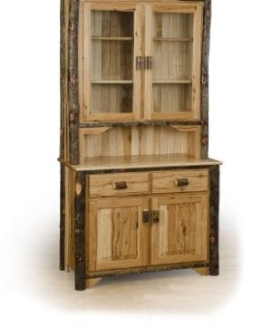 Rustic 2 Door Hutch ALL HICKORY Amish Made 0 300x360
