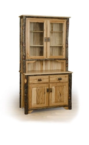 Rustic 2 Door Hutch ALL HICKORY Amish Made 0