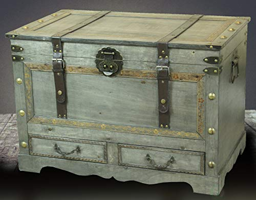 Rustic Gray Large Wooden Storage Trunk Coffee Table With Two Drawers 0 0