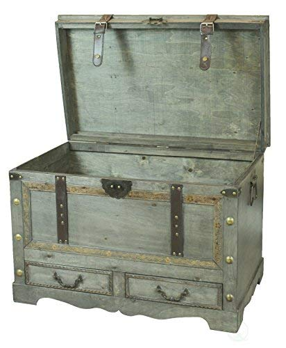 Rustic Gray Large Wooden Storage Trunk Coffee Table With Two Drawers Farmhouse Goals