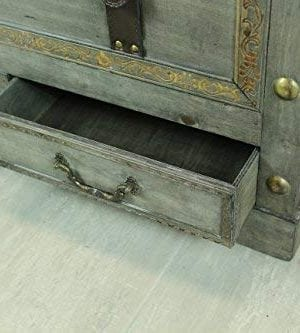 Rustic Gray Large Wooden Storage Trunk Coffee Table With Two Drawers 0 2 300x333